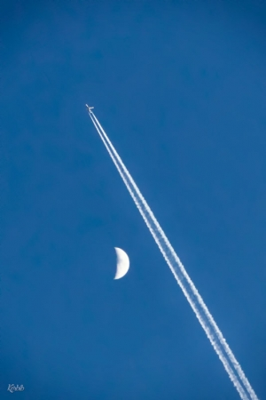 Moon and plane